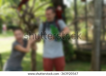 Bird park Bali Indonesia Travel theme blur background