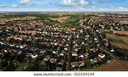 Bird perspective of village, aerial photo - stock photo