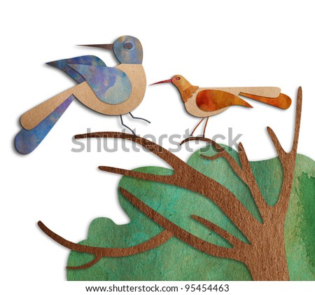 Bird recycled paper Spring background. - stock photo