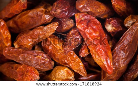 bird's eye chili red pepper pods close up - stock photo