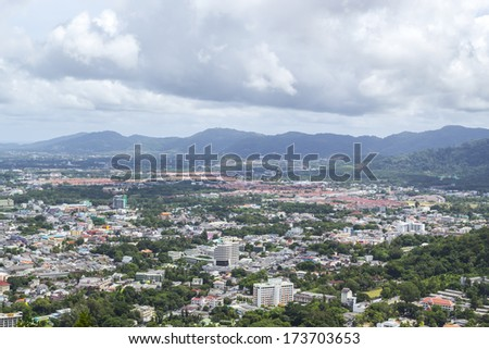 Bird's eye view landscape of phuket town