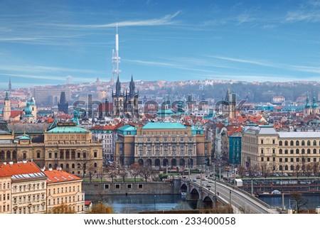 Bird's eye view of Prague river bridge - stock photo