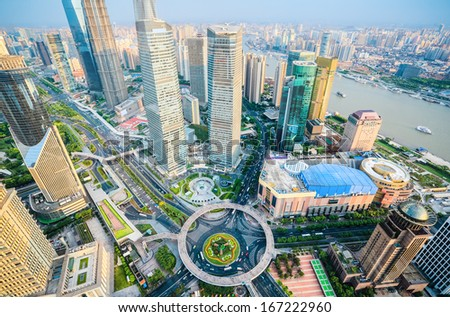 bird's eye view of shanghai downtown,a metropolitan background  - stock photo