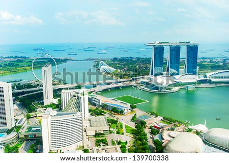 Bird's eye view of Singapore in the sunshine day - stock photo