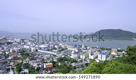 bird's eye view of Songkhla province, South of Thailand - stock photo