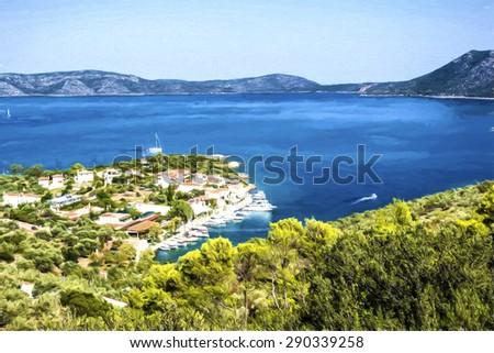 Bird's eye view of Steni Vala bay in Alonissos - painting effect - stock photo