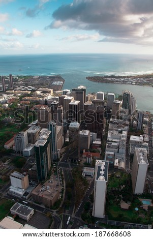 Bird's eye view of the beautiful bustling Oahu cityscape - stock photo