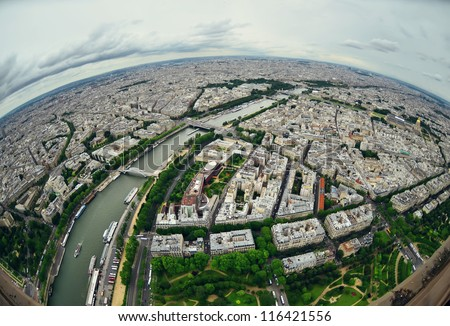 Bird's eye view of the city of Paris ,France