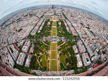 Bird's eye view of the city of Paris ,France ,  photographed from the eiffel tower - stock photo