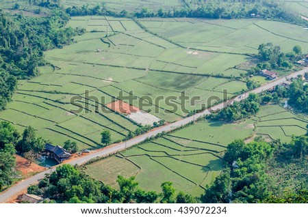 Bird's Eye View of the Meadows and cornfield - stock photo