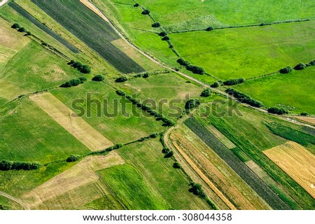 Bird's Eye View of the Meadows and Pastures Parcel. - stock photo