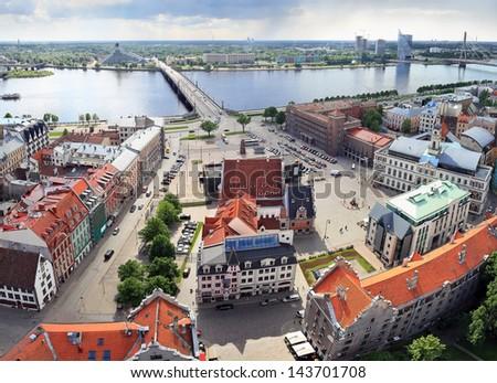 Bird's eye view of the Old Town and Daugava river, Riga (Latvia). Image assembled from few frames - stock photo