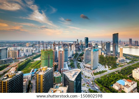 Bird's eye view of the scene of major cities. - stock photo