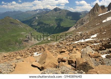 bird's eye view of valley near Gavarnie in French Pyrenees  - stock photo
