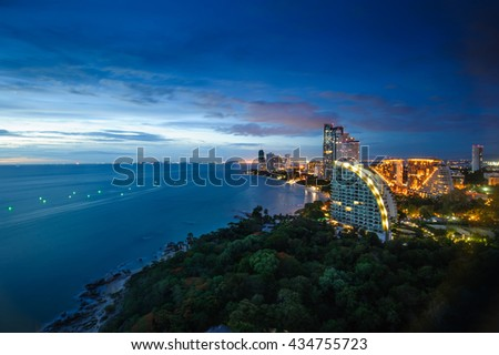 Bird's Eye View of Wong Am-mat Beach, Pattaya, Thailand