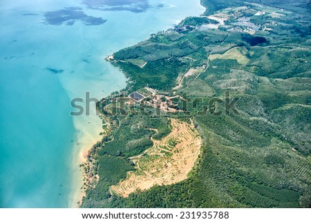 Bird's-eye view on Thailand landscapes from airplane - stock photo