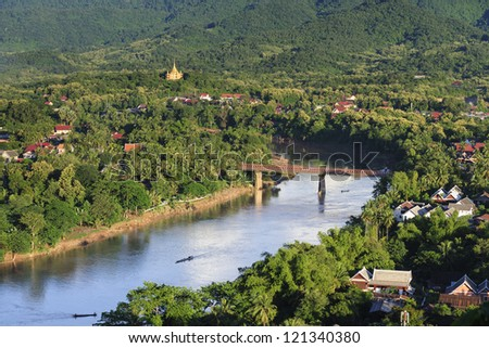 Bird's view of  Nam Khan river, Luang Prabang,Laos - stock photo
