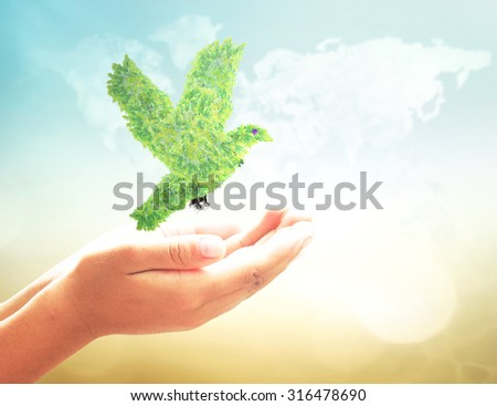 Bird shape of green tree in human hand over blurred world map of clouds background. Natural energy, Ecology, World Environment Day, Peaceful concept. - stock photo