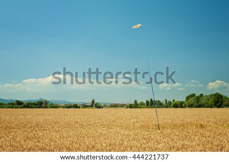 bird shaped pigeon scaring kite on pole on farm field in El Prat on sunny summer day, Barcelona, Spain