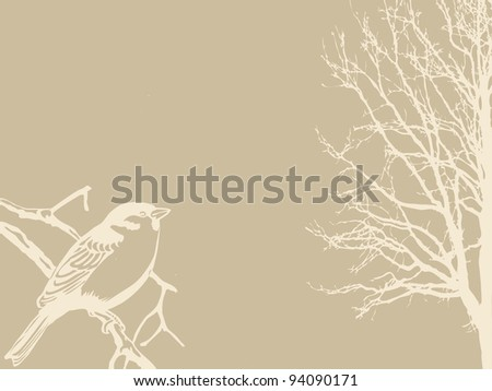 bird silhouette on wood background - stock photo