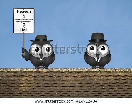 Bird vicar with destination heaven or hell sign and worried businessman perched on a rooftop against a clear blue sky - stock photo