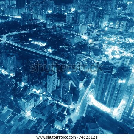 Bird view at  City night scene - stock photo
