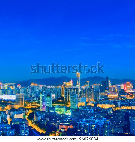 Bird view at  City night scene - stock photo