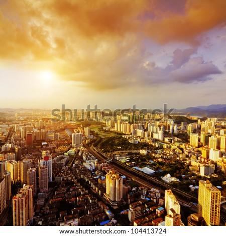 Bird view at city of shenzhen China - stock photo