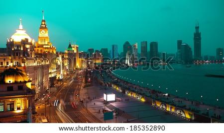 Bird view at Shanghai Bund European-style buildings landscape of night - stock photo