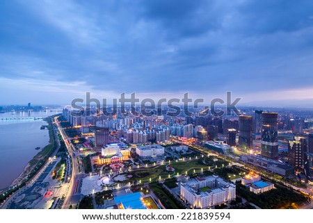 Bird view at Shanghai China. - stock photo