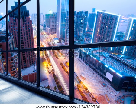 Bird view at Shanghai China. Skyscraper under construction in fo - stock photo