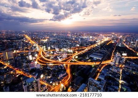 bird view of urban city traffic light trail  - stock photo