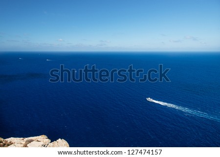 Bird view on boat at coast of Mallorca Spain