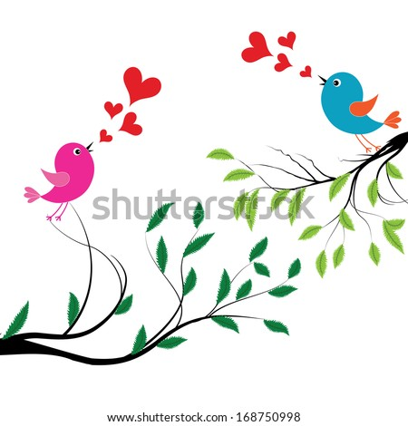 Bird with love illustration of a birds wedding on tree sing a heart song. Raster version - stock photo