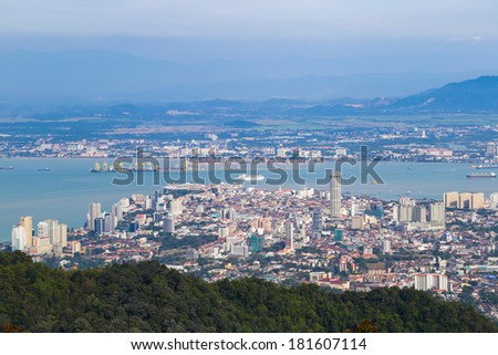 Birdeye view of Georgetown, capital of Penang Island, Malaysia from top of Penang hill.