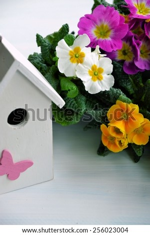 birdhouse and flowers - stock photo