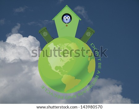 Birdhouse on green earth with recycling message against a cloudy blue sky - stock photo