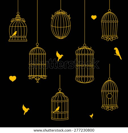 birds and birdcages gold  collection on black background - stock photo