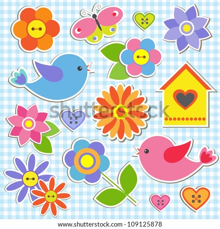 Birds and flowers.  Raster version - stock photo