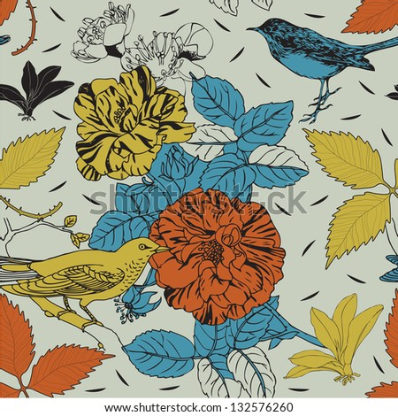 Birds and flowers. Seamless background.