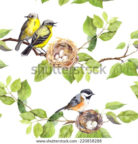 Birds and nest on branch. Seamless repeating pattern. Watercolor - stock photo