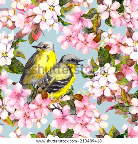 Birds and pink cherry (sakura) and apple flowers. Seamless repeated floral pattern. Watercolor - stock photo