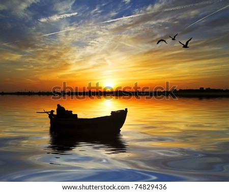birds and the boatman - stock photo