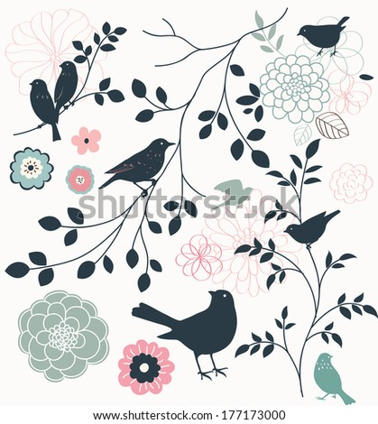 Birds and twigs JPEG - stock photo