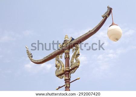 Birds, Animals In Thailand literature, Animal Sculptures in Thai Literature at Temple, Lamp animals. Animals in Thailand literature. Behind the sky. - stock photo
