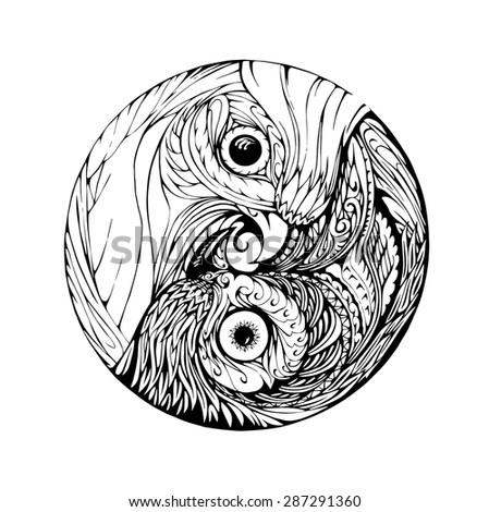 birds black white mandala illustration stock illustration 287291360
