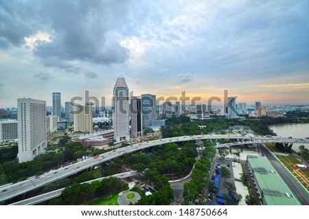 Birds eye View. Landscape of Singapore city - Singapore`s business district
