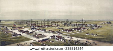 Birds eye view of Fort Reno, Oklahoma Territory 1891. Drawn by T. M. Fowler. color lithograph, 1891. - stock photo