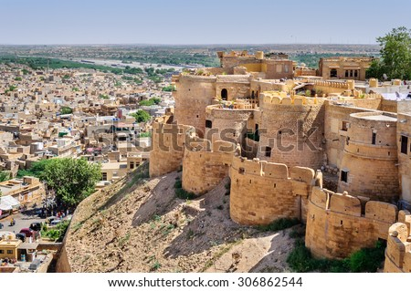Birds eye view of Jaisalmer city from Golden Fort of Jaisalmer, Rajasthan India with copy space - stock photo