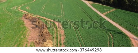 Birds Eye View of the Fields and Agricultural Parcel - stock photo